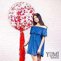 Шар-гигант гелиевый с конфетти и красной гирляндой тассел, фото 3