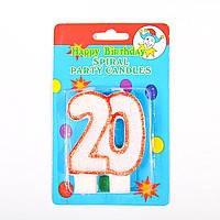 Свеча-цифра для торта двойная 20