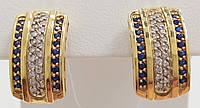Золотые серьги с бриллиантами и сапфиром