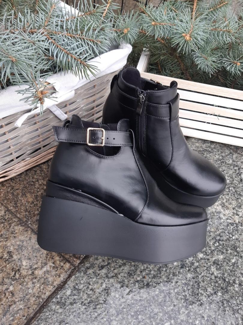 Женские кожаные ботинки на высокой платформе