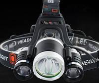 Ліхтар налобний 3T62 з датчиком руху - діоди Cree-T6, зарядка від USB, батарейки та зарядне в комплекті, фото 1