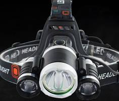 Ліхтар налобний 3T62 - діоди Cree-T6, живлення типу 18650*2шт, зарядка від USB, батарейки зарядне в комплекті