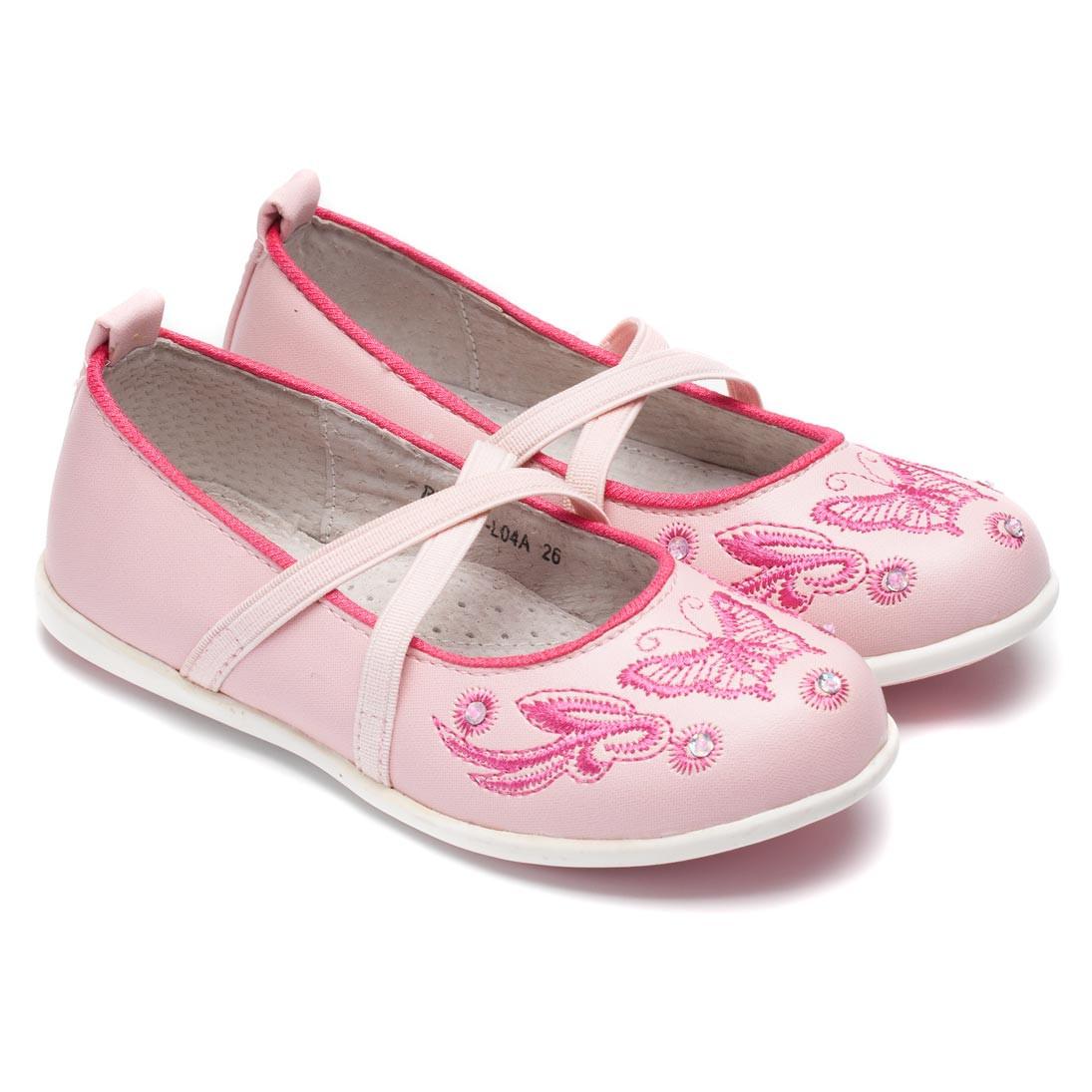 Туфли Miss Beauty для девочки, розовые с вышивкой, размер 25-30