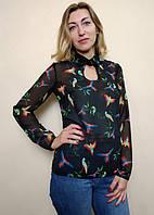 Женская полупрозрачная блузка с оригинальным вырезом Бл04, фото 1