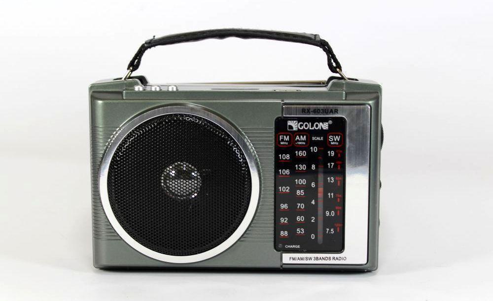 Портативное радио RX 603 радиоприемник с USB флешкой картой памяти SD переносной с ручкой