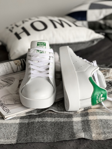 63007c81e2db4b Женские белые кроссовки Adidas Stan Smith Bold W (Ftwr White / Ftwr White /  Green)