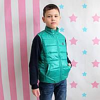 Детская куртка жилетка безрукавка зеленая тм Alfonso размер 122,128,140