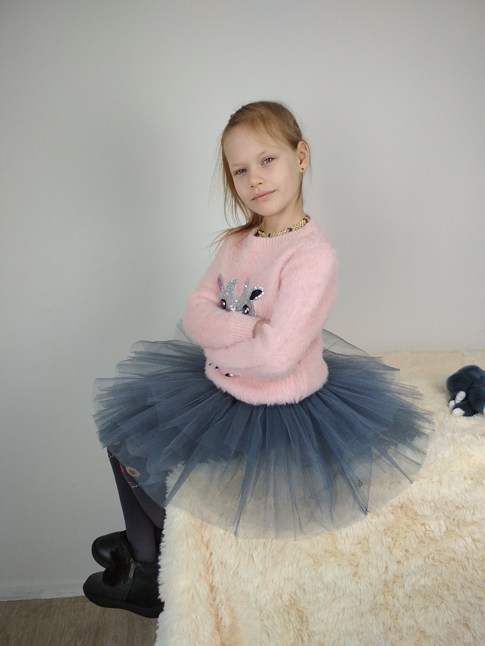 Фатиновая двостороння спідниця-пачка сірого кольору 3-9 років