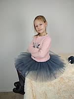 Фатиновая двостороння спідниця-пачка сірого кольору 3-9 років, фото 1