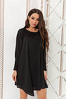 7cfe3982961 Шифоновое Платье с Гипюром. Чёрное