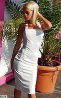 Платье вечернее летнее ( выпускное ) футляр карандаш приталенное по фигуре с открытыми плечами Цвет : Белый Размер : 42 44 46 Материал : Дайвинг