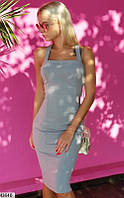 Платье вечернее летнее ( выпускное ) футляр карандаш приталенное по фигуре с открытыми плечами Цвет : Серый Размер : 42 44 46 Материал : Дайвинг