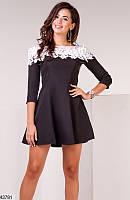 Платье расклешенное ( клеш ) тюльпан с кружевами короткое мини выше колена вечернее ( выпускное ) и повседневное Цвет : Черный Размер : 42 44 46