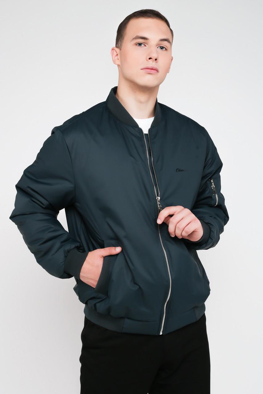 Стильный мужской бомбер с карманами зеленый 3024, фото 1