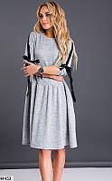 e444bce402b Платье вечернее свободного кроя расклешенное ( клеш ) выпускное и  повседневное миди до колена Цвет   Серый меланж Размер   42 44 46 48  Материал