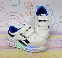 Детские Led кроссовки со светящейся подошвой белые a6b5adf7f1436