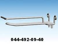Крючок двойной с ценником для ДСП. Крючки для панелей ДСП. Торговое оборудование из проволоки