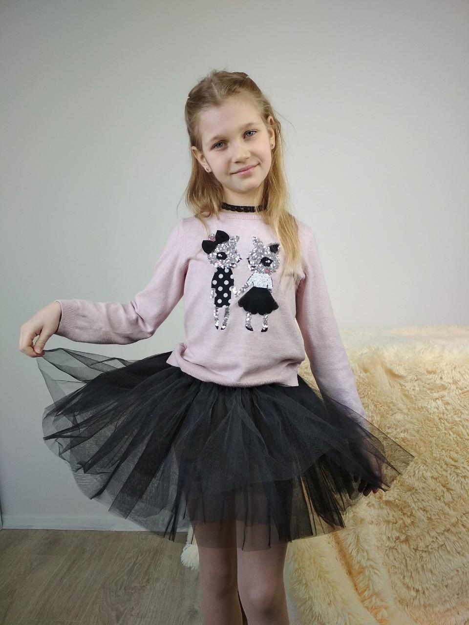 Черная детская юбка-пачка из фатина 3-9 лет