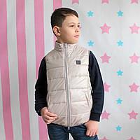 Детская куртка - жилетка безрукавка бежевая тм Alfonso размер 128,146