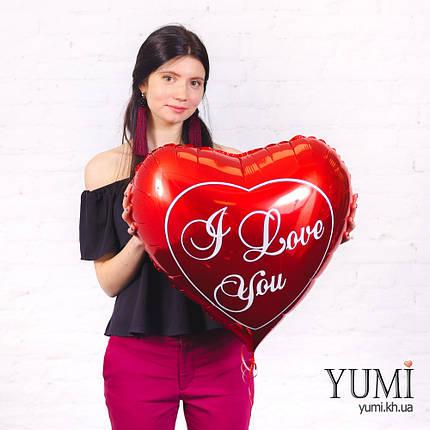 Большое фольгированное сердце с гелием, фото 2