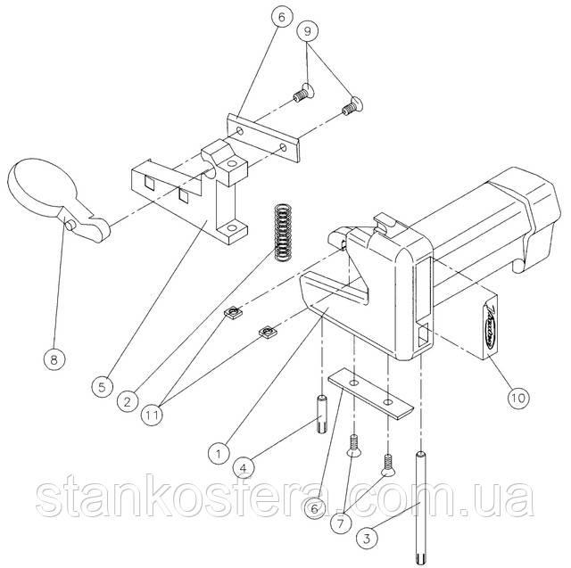Virutex RC21E для обрезки кромки: конструкционная схема