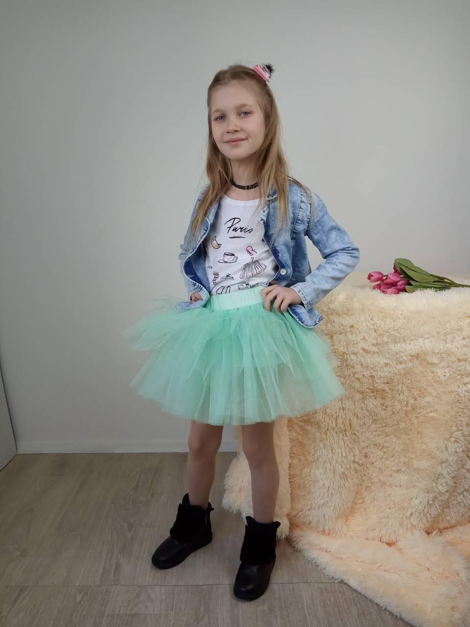 Детская фатиновая юбка двусторонняя мятного цвета 3-9 лет