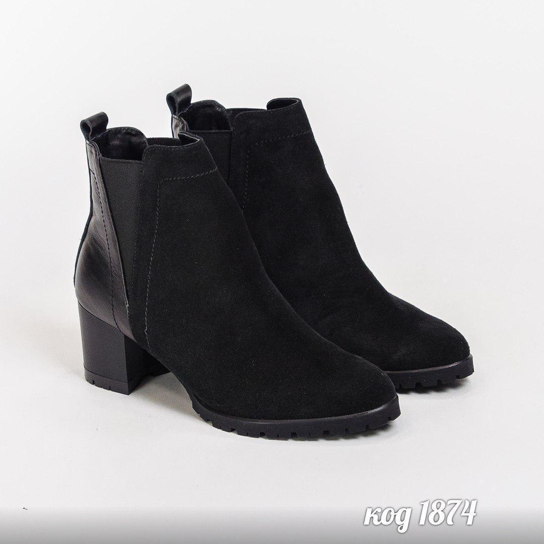 40 р. Ботинки женские деми черные замшевые на среднем каблуке, из натуральной замши, натуральная замша