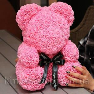 Подарочный мишка из розочек высотой 25 см красный, розовый
