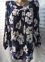 Блуза с цветочным принтом женская батальная (масло), фото 1