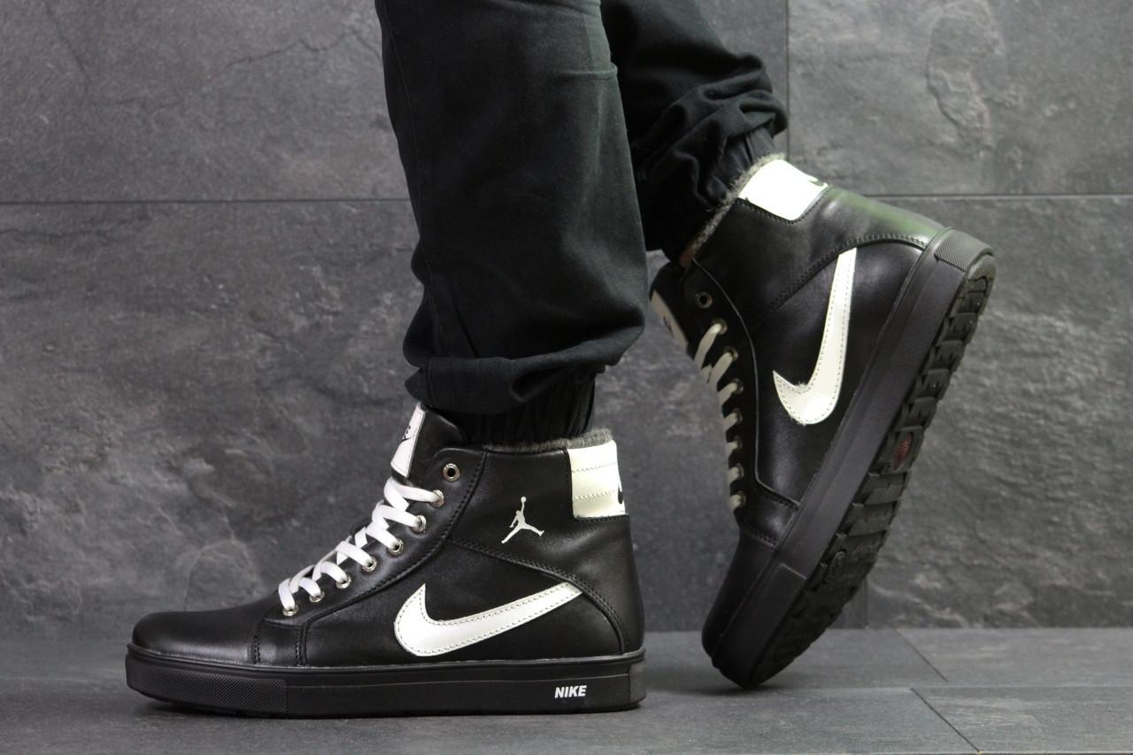 203497868 Мужские Высокие Зимние Кроссовки Nike Jordan, Черные,на Меху — в ...