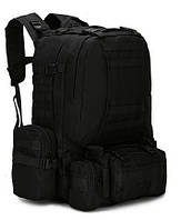 Тактический Штурмовой Военный Рюкзак с подсумками на 50-60 литров Black