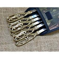 """Комплект шампурів ручної роботи """"Лосі"""" в чохлі з тканини, 6шт, фото 3"""
