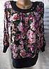 Блуза с цветочным принтом женская батальная (масло)