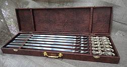 """Подарочные шампура ручной работы """"Хищный ястреб"""" в кейсе из эко-кожи, 6шт, фото 2"""