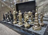 """Премиум-подарок, Набор шахмат ручной работы """"Запорожская Сечь"""". Шахматы (доска из гранита, фигурки бронзовые)"""