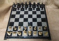"""Премиум-подарок, Набор шахмат ручной работы """"Запорожская Сечь"""". Шахматы (доска из мрaмора, фигурки бронзовые), фото 3"""