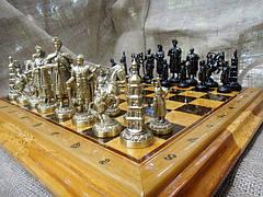 """Эксклюзивные шахматы ручной работы """"Запорожская Сечь"""". Набор шахмат из бронзы с деревянной доской., фото 2"""