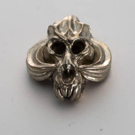 Бусина на темляк Череп № 3 (бронза, черненая бронза, мельхиор), фото 2