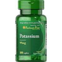 Puritan's Pride Potassium 99 mg 100 caplets, фото 1