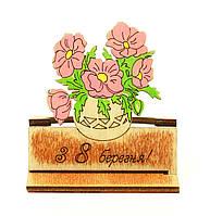 """Деревянная открытка девушке """"С 8 марта"""", открытки с пожеланиями и яркими красками на 8 марта"""
