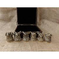 """Элитные бронзовые чарки """"Подарок охотнику"""" в кейсе из эко-кожи, 6шт."""