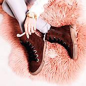 Коричневі черевики на шнурівці з натурального нубуку