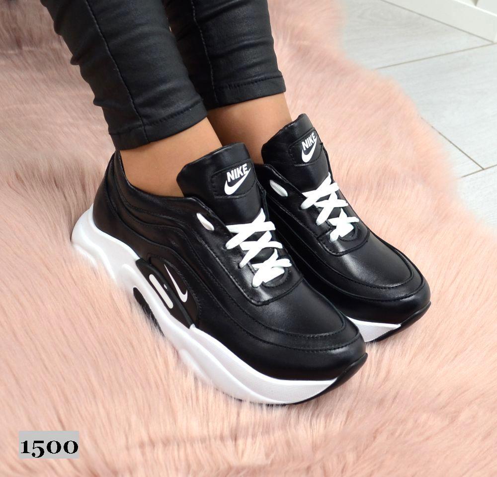 6e8fa002 Кожаные женские кроссовки на платформе в стиле Nike черные: продажа ...