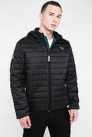 Спортивная демисезонная мужская куртка с горизонтальными строчками черный 3028, фото 1