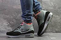 a9462d7d Высокие зимние кроссовки Nike air max 87,на меху,серые с черным,замшевые