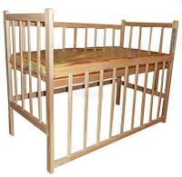 Детская кроватка из ольхи (БЕЗ ЛАКА,два положения дна)боковина ОПУСКАЕТСЯ