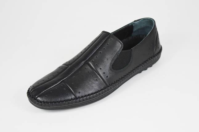 Мокасмны черные кожаные DD 32014, фото 2