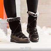 Чорні черевики з натуральної замші зі вставкою натуральної шкіри з перламутровим напиленням на шнурівці