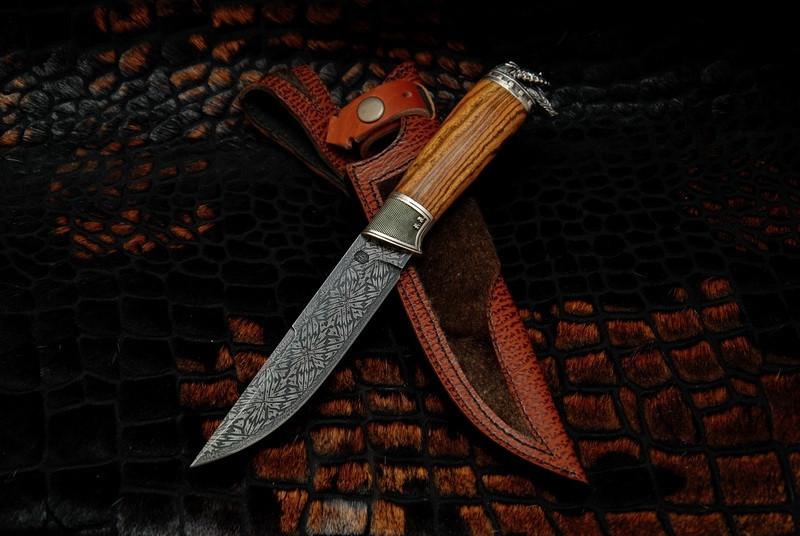"""Авторский коллекционный нож в подарок ножеману """"Viking"""", мозаичный дамаск"""
