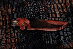 """Авторский коллекционный нож в подарок ножеману """"Viking"""", мозаичный дамаск, фото 3"""